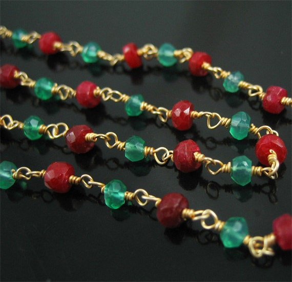 Ruby and Emerald Gemstone Chain 2 feet SPECIAL SALE