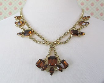 Vintage Topaz Brown Rhinestone Necklace and Earring Set