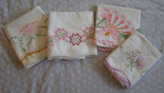 Vintage Embroidered Pillowcases-Lot of 4