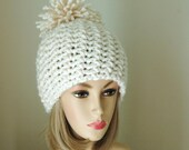 Chunky Crochet Hat in Cream Winter White with Large Pompom