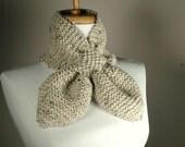 Oatmeal Knit Scarf, Knitted Keyhole Scarf, Women's Scarf, Winter Scarf, Knit Ascot, Neutral Oatmeal Scarf, Knit Scarflette, Vegan Scarf