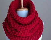 Cranberry Red Chunky Knit Scarf Cowl Hood, Chunky Knit Scarf, Women Scarf, Red Cowl Scarf, Wool Scarf, Chunky Cowl Scarf, Circle Scarf