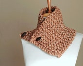 Chunky Textured Neutral Tan Light Brown Neckwarmer with Button Closure