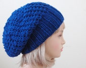 Royal Blue Knit Slouchy Hat, Slouchy Beanie Hat, Oversized Beanie, Chunky Knitted Hat, Hand Knit Hat, Womens Winter Hat - Chunky Reversible