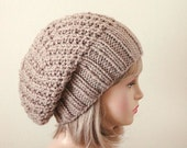Taupe Knit Slouchy Hat, Slouchy Hat, Oversized Slouchy Beanie, Chunky Hat, Hand Knit Hat, Women's Winter Hat, Chunky Reversible Hat