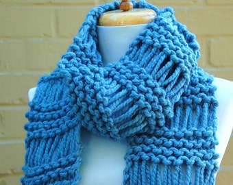 Knit Scarf, Chunky Scarf, Hand Knit Scarf, Sky Blue Scarf, Fringe Scarf, Women Scarf, Wool Scarrf,  Original Design in Drop Stitch