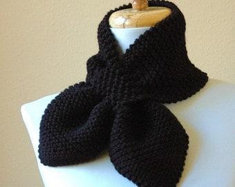 Black Knit Scarf, Keyhole Scarf, Women's Scarf, Knitted Vegan Scarf, Winter Scarf,The Original Stay Put Scarf - Pull Through Keyhole Scarf