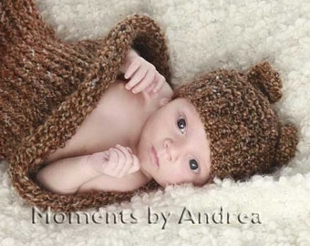 Barley Brown Knit Baby Cocoon and Bear Hat Set - Newborn Photo Prop for Baby Boy or Baby Girl, Newborn Girl Outfit, Newborn Boy Outfit