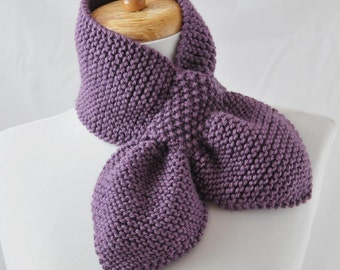 Hand Knit Keyhole Scarf, Knit Scarf, Knitted Neckwarmer, Women's Knit Scarf, Vegan Scarf, The Original Stay Put Scarf in Dusty Purple