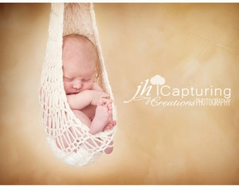 Cream Knit Baby Hammock Photography Prop - Sling, Cocoon, Hanging, Stork Pouch