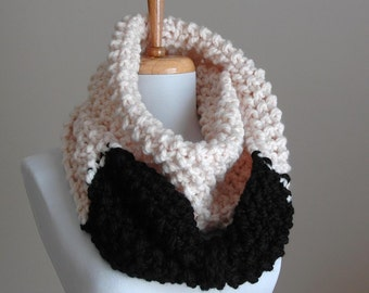 Black and Cream Knit Scarf Chunky Scarf Hand Knit Infinity Scarf Women Scarves Knitted Neckwarmer with Big Bow