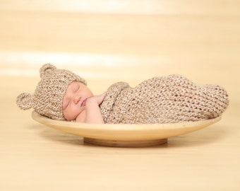 Rococco Brown Knit Baby Bear Hat and Cocoon Set, Newborn Photo Prop, Baby Boy Outfit, Baby Girl Outfit, Knitted Baby Set, Newborn Bear Hat