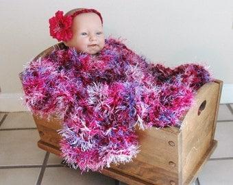 Knit Baby Blanket Photo Prop, Pink Purple Blanket, Fuzzy Blanket, Chunky Vegan Knit Baby Blanket, Soft Newborn Photo Prop and Basket Liner