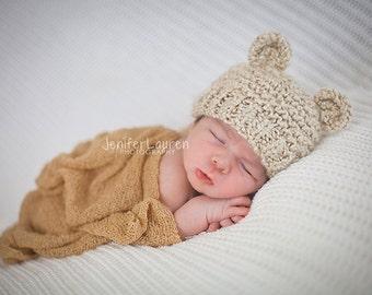 Baby Boy Bear Hat, Baby Girl Bear Hat, Newborn Photo Prop, Knitted Baby Hat, Newborn Hat, Knit Bear Hat, Cream Baby Hat, Teddy Bear Hat