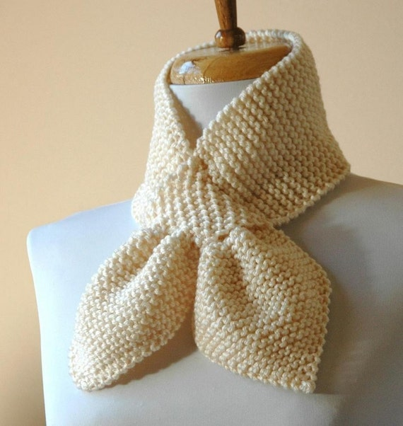 Knitted Keyhole Scarf Pattern : Hand Knit Keyhole Scarf In Cream Winter White The by PhylPhil