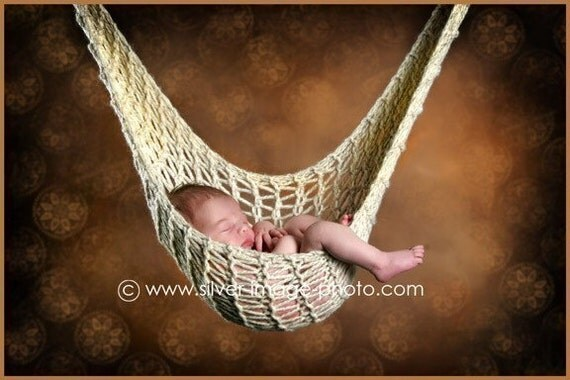 Cream Knit Baby Hammock, Newborn Photography Prop - Sling, Cocoon, Hanging, Stork Pouch