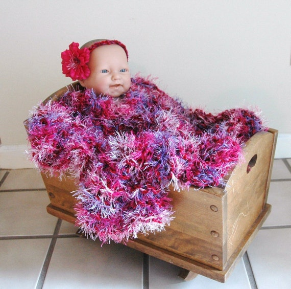 Knit Baby Blanket Photo Prop, Pink Purple Blanket, Fuzzy Blanket, Chunky Vegan Knit Baby Blanket, Soft Newborn Photo Prop and Basket Liner