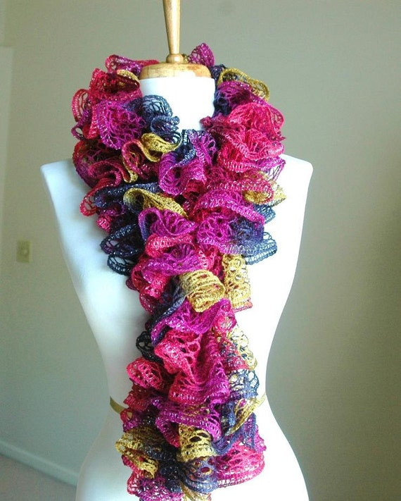 Hand Knit Ruffle Scarf In Shades of Moss Green Fuchsia  Navy Blue Purple Pink Coral With A Hint Of Shimmer