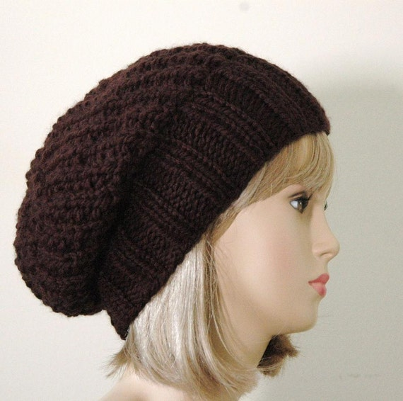 Slouchy Hat, Espresso Dark Brown Knit Slouchy Beanie Hat, Oversized Beanie, Chunky Hand Knit Women's Hat, Winter Hat, Vegan Reversible Hat