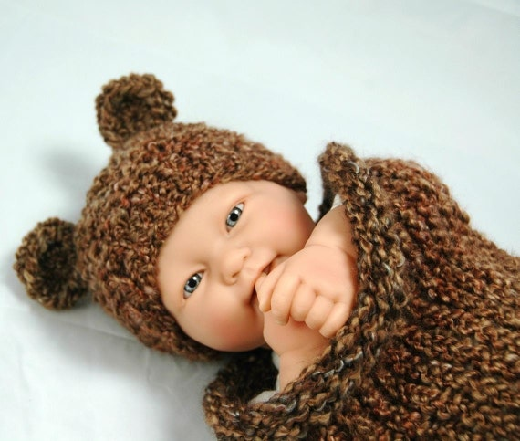 Infant Tiny Bear Hat To Match Cocoon