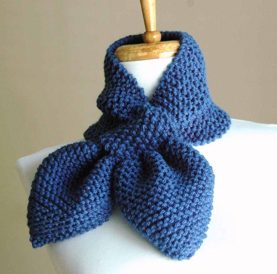 Knitted Keyhole Scarf Pattern : Hand Knit Keyhole Scarf in Colonial BlueThe Original Stay Put