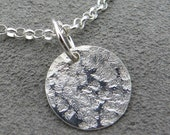 Sterling Silver Necklace Textured disc