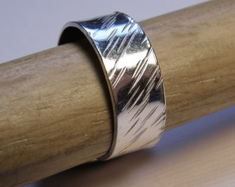 Silver Band - Angle Texture Ring- 336