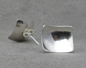Silver Square Earrings- Contradicting Earrings