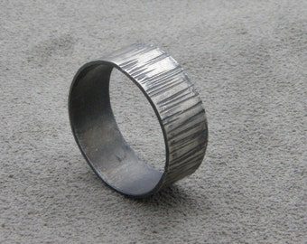 Sterling Silver Ring- Grooved- Dark Bumpy Road