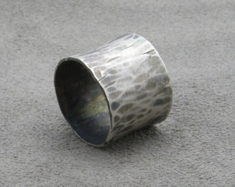Wide Silver Ring - Rustic Faceted - Darkened