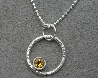 Sterling Silver Gem Pendant - Fair Trade Citrine- Sunshine