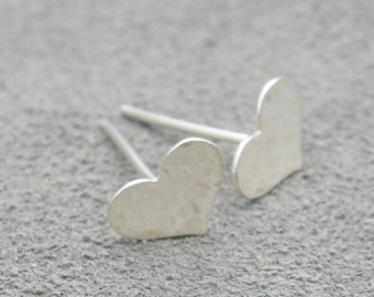 Heart Earrings - Sterling Silver Dainty Hammered Studs