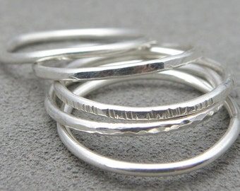 Silver Stacking Rings - Five Rings