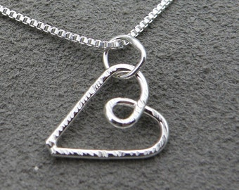 Sterling Silver Necklace Grooved Heart
