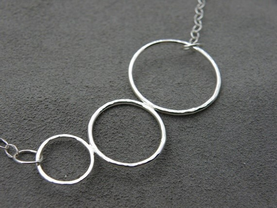 Sterling Hammered Circle Pendant - Circle of Friends Necklace