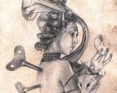 Graphophone Woman Sketch  print