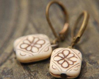 French toast. Vintage art deco floral block earrings.