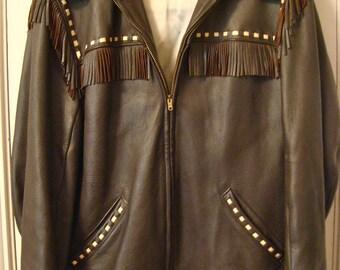 Vintage Deerskin Midwestern Fringe Jacket Made in USA