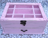 "Light Pink  ""Shabby Chic"" Wooden Jewelry Box"