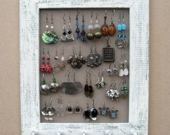 Shabby Chic JEWELRY DISPLAY EARRING Rack / Cream / 25 - 40 Earrings / 20 - 30 Necklaces