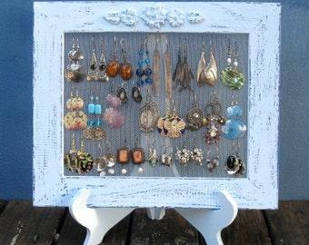 Earring Holder On A Stand / Light Blue Shabby Chic / 25 - 40 Earrings