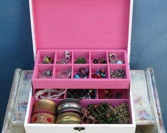 Shabby Chic Home Decor Wooden Jewelry Box Cream & pink , earring box