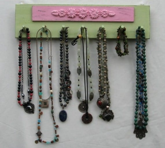 NECKLACE HOLDER Jewelry Organizer And Display Green & Pink Shabby Chic