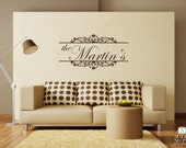 Family Monogram Baroque Wall Decal - Vinyl Wall Stickers Art Words Lettering