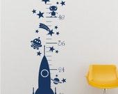 Rocket Growth Chart Wall Decal - Vinyl Wall Art