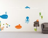 Underwater Ocean Scene Wall Decals Mural - Nursery Kids Wall Stickers
