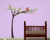 Nursery Tree Wall Decal Modern  With Owl - Vinyl Wall Stickers