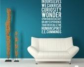 ee cummings Human Spirit Wall Decal Quote - Subway Art Wall Words