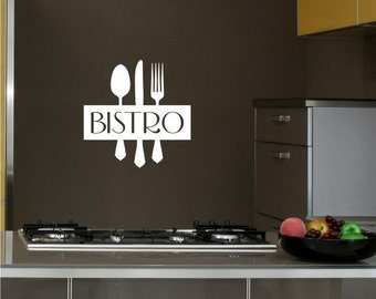 Wall Decal Bistro Sign with Silverware Utensils - Vinyl Wall Stickers Art