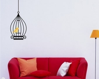 Birdcage Vinyl Wall Decal - Wall Stickers Art